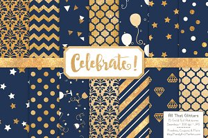 Gold Foil Digital Papers in Navy