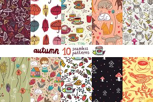 10 autumn seamless patterns
