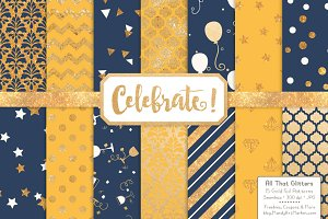 Navy & Lemon Gold Foil Digital Paper