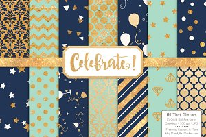 Navy & Mint Gold Foil Digital Papers