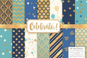Gold Foil Digital Papers in Oceana