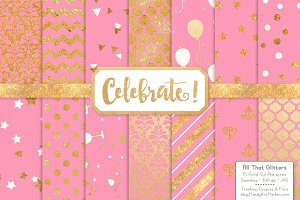 Gold Foil Digital Papers in Pink