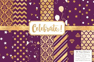 Gold Foil Digital Papers in Plum