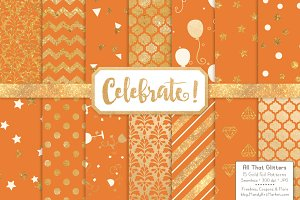 Pumpkin Gold Foil Digital Papers