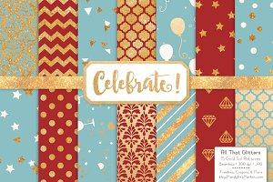 Red & Robin Gold Foil Digital Papers