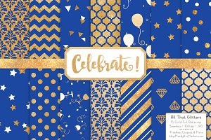 Royal Blue Gold Foil Digital Paper