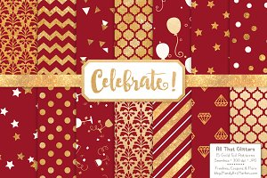Gold Foil Digital Papers in Ruby
