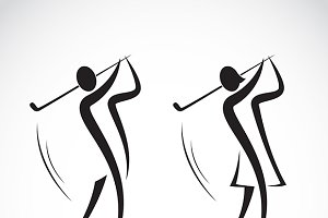 Male and female golfers design