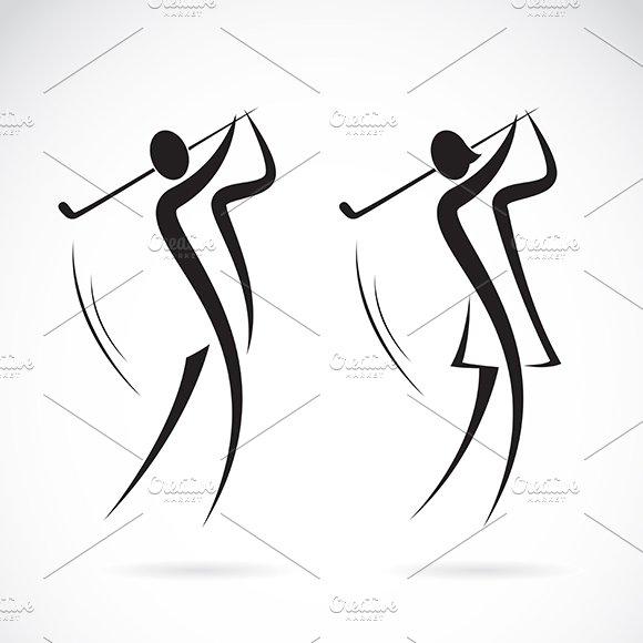 Male and female golfers design