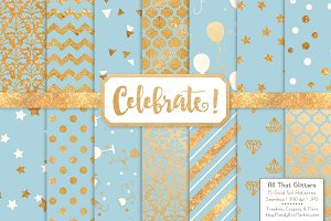 Soft Blue Gold Foil Digital Papers