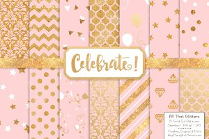 Soft Pink Gold Foil Digital Papers