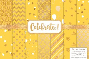 Sunshine Gold Foil Digital Papers