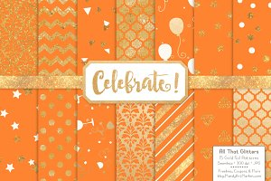 Tangerine Gold Foil Digital Papers