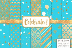 TropicalBlue Gold Foil Digital Pape