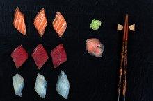 Fresh Sushi on Slate Stone