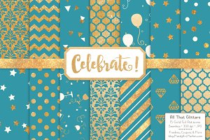 Vintage Blue Gold Foil Digital Paper
