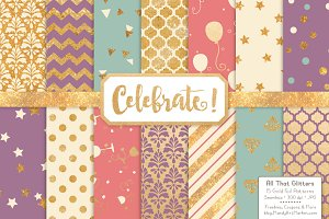 Gold Foil Digital Papers in Vintage