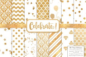 Gold Foil Digital Papers in White