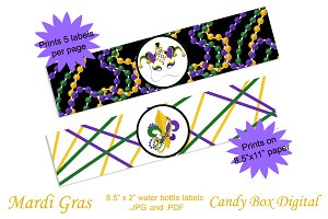 Mardi Gras Water Bottle/Napkin Wraps