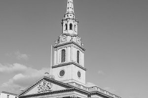 St Martin church in London in black and white