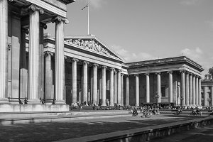 British Museum in London in black and white