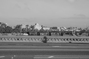 Westminster Bridge in London in black and white