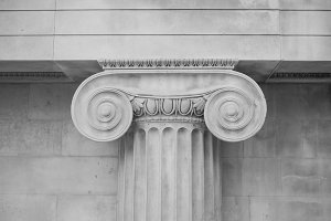 Ionic capital in black and white