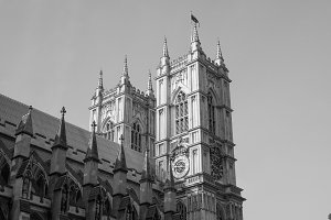 Westminster Abbey in London in black and white