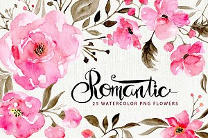 Romantic watercolor flowers