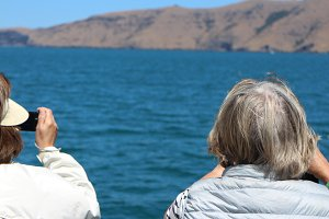 Two elderly women on holiday