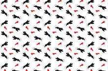 Seamless pattern with mosquitoes