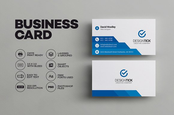 Simple Clean Business Card Business Card Templates Creative Market - Full bleed business card template