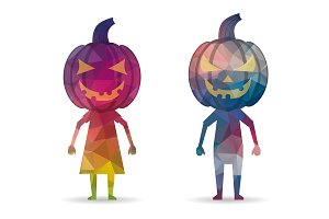 low poly kids halloween icon