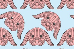 Seamless pattern rabbit coloring