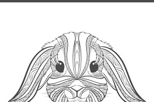 Rabbit coloring outlines in boho