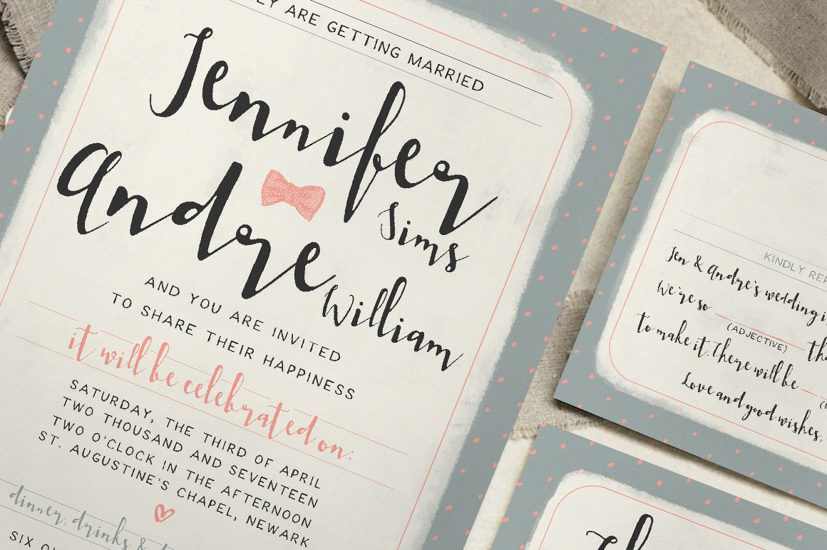 Sweet Polka Dots Wedding Suite ~ Invitation Templates ~ Creative Market