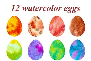 Watercolor Clip Art - Easter eggs.