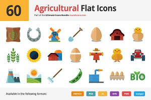 60 Agriculture Flat Icons
