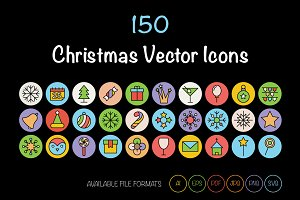 150 Christmas Vector Icons