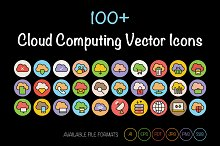 100+ Cloud Computing Vector Icons.