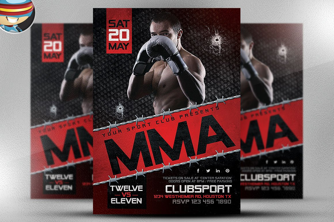 MMA Flyer Template 2 Flyer Templates on Creative Market – Ufc Flyer Template