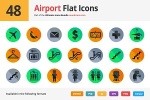 48 Airport Flat Icons