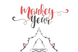 Lettering calligraphy with monkey
