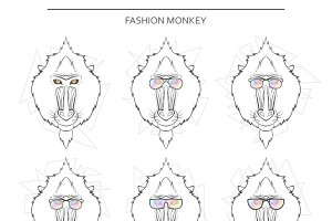 Isolated set monkey muzzles