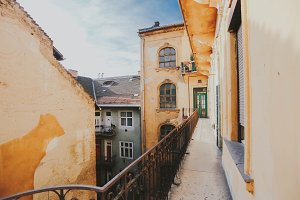 Balcony in old house in Budapest