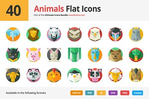 40 Animals Flat Icons