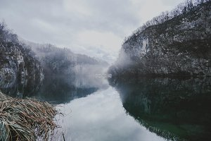 Fog over lake, Plitvice Lake Croatia