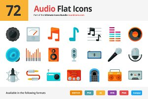 72 Audio Flat Icons