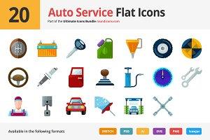 20 Auto Service Flat Icons