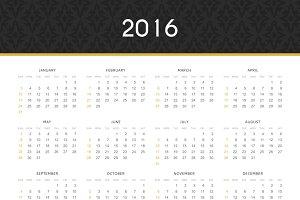 English. Simple modern calendar 2016